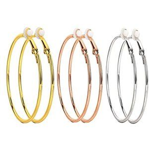 "1 60"" GOLD/ROSE GOLD/SILVER CLIP ON HOOP EARRINGS"